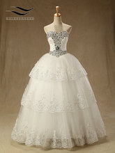 Luxury Sweetheart Wedding Dresses Pleat Ball Gown with Krystala and Sequins Lace Up Bridal Dress Court Train Elegant Real Photos