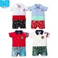 Macacão de bebê verão similares jeans meninos outerwear macacão de algodão crianças macacões de manga curta polo roupas bebes meninas do bebê roupas
