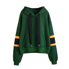 KLV bts striped hoodies harajuku 2017 New fashion Green Autumn Winner Womens Long Sleeve Hoodie Sweatshirt Hooded Pullover Tops(China)