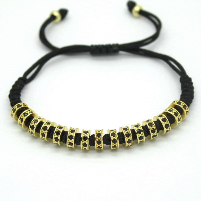New Fashion Brand Macrame Bracelets, Rose Gold Micro Pave Black CZ Stoppers Beads Strand Macrame Bracelet For Men Jewelry 2