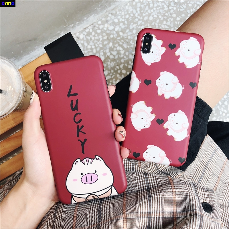 Cyato Lucky Words Cute Pig Case For iPhone XS Max XR Claret IMD Full Protector case Apple 6 6S 7 8 Plus X Funda