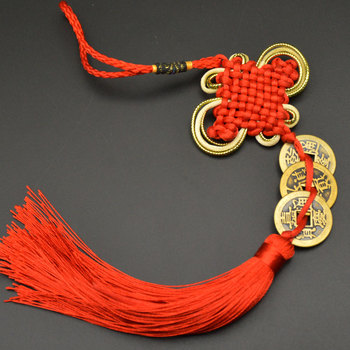 Chinese manual Knot Fengshui Lucky Charms Ancient I CHING Copper Coins Mascot Prosperity Protection Good Fortune Home Car Decor 21