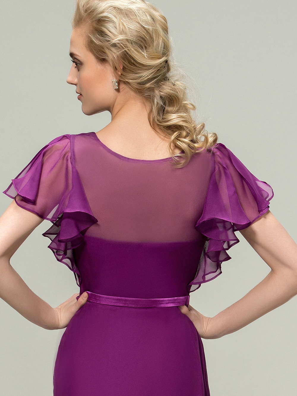 b0f17e0aaa7db DressV Long Chiffon Purple Bridesmaid Dresses 2017 A Line Ruched V neck  Short Sleeves Maid of Honor Dress Wedding Party Gowns-in Bridesmaid Dresses  from ...
