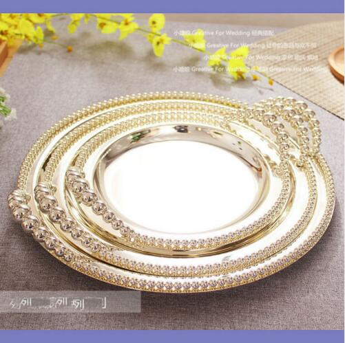 25cm/30cm/35cm wedding decoration steel trays with handles silver cake display pan cake pan metal silver serving tray SG097 ...