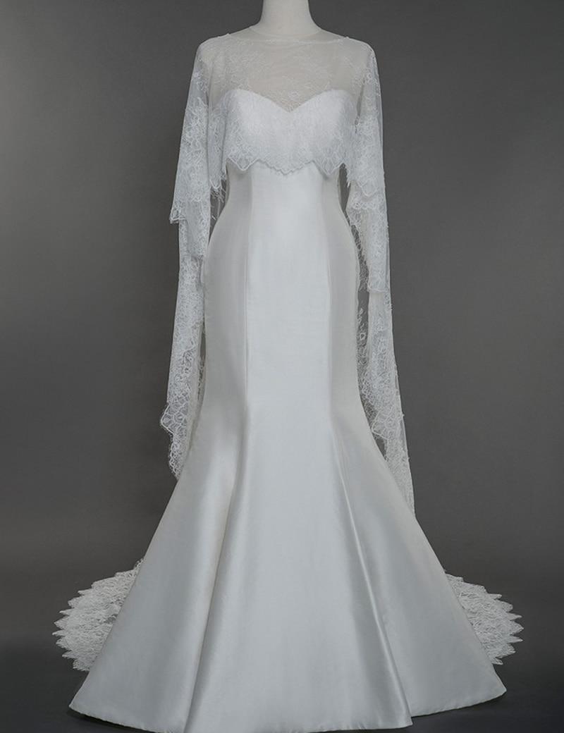 Real sample elegant ivory white lace bridal cape wedding for White bolero for wedding dress