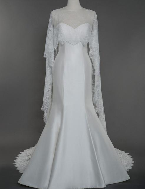 13310493eb Real Sample Elegant Ivory White Lace Bridal Cape Wedding Bolero Long  Applique Wedding Jacket Shawl Wrap Wedding Accessories RJ04-in Wedding  Jackets / ...