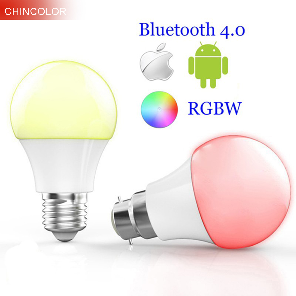 Smart Bluetooth 4.0 Led bulbs multi color E27 or B22 base 4.5W RGBW Dimmable intelligent lighting spot lamp for ISO Android JQ