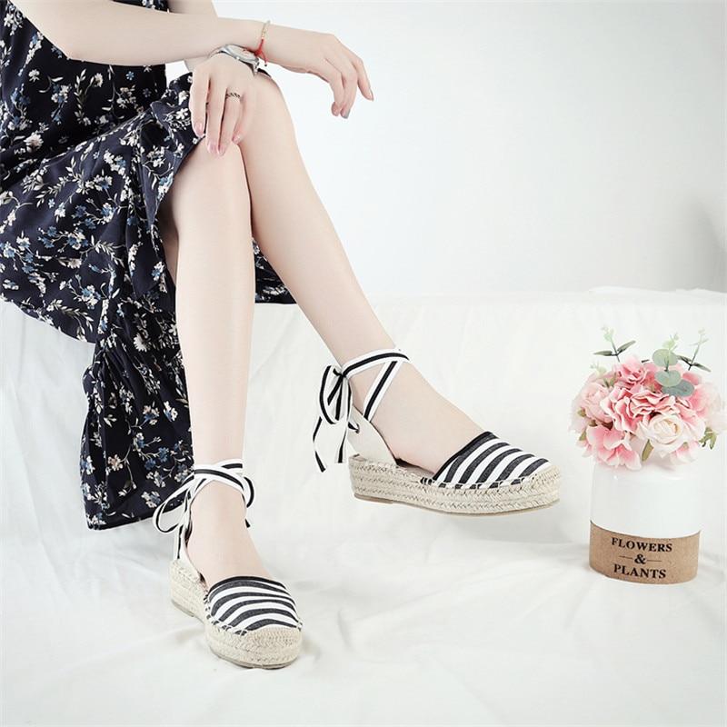 Summer Black Striped Wedge Espadrilles Women Sandals Closed Toe Lace Gladiator Sandal Women Casual Lace Up Women Platform Sandal (8)