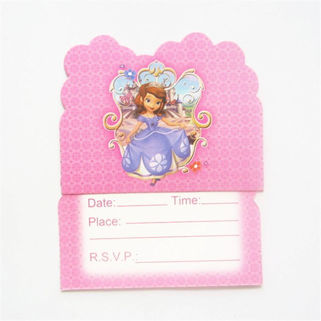10pcs 1114cm Sofia Princess Party Invitation Card Cartoon Theme Kid