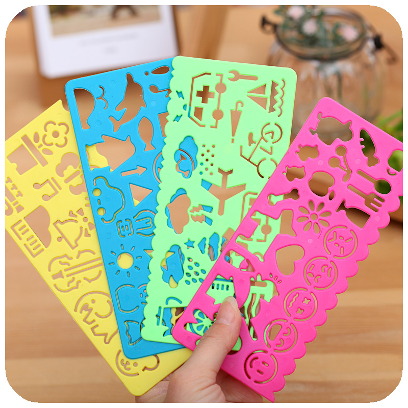 4 PCS / Lot Candy Color Cute Art Graphics Symbols Drawing Template Ruler Student Kids Stencil Rule Stationery Student Supplies