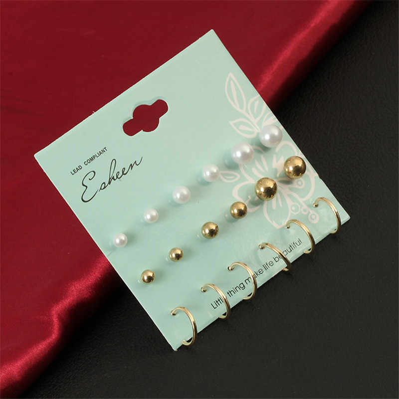 Crazy Feng Wholesale 9 Pair/set Vintage Silver Gold Color Big Circle Hoop Earrings For Women Simulated Pearl Clip Cuff Earring
