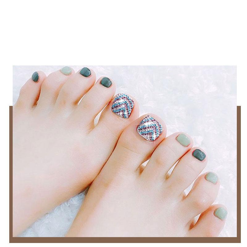 2 Pcs Shiny False Foot Toe Decorations For Nail Art Full Covered