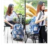 Mochilas con carrito de viaje para mujer, mochilas con ruedas, de negocios, de viaje, Oxford