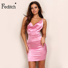 1a698dc656a5 Feditch 2017 New Fashion Women Satin Outfit Sexy Party Dresses Halter Bandage  Bodycon Dress Hot Sale
