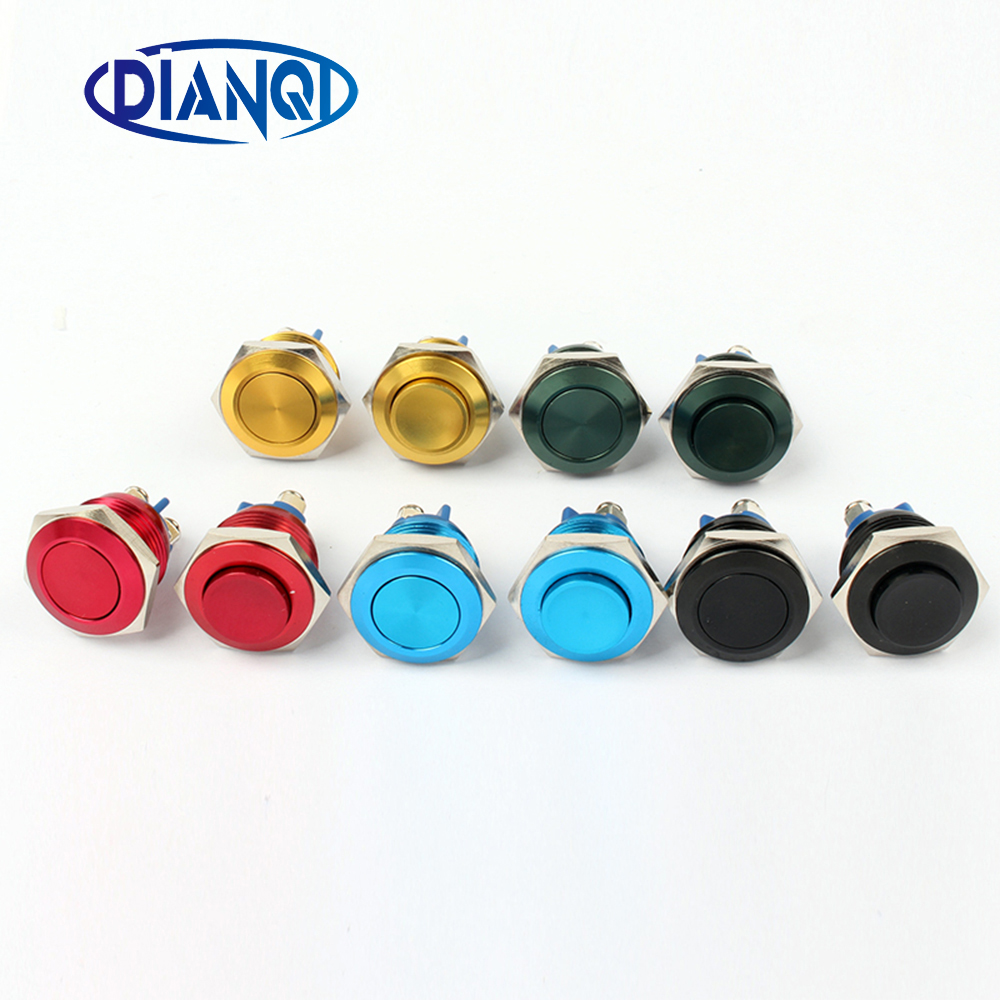 16mm Metal Oxidized Push Button Switch flat round 1NO reset press button screw terminal momentary red black blue Gold Green 16mm metal brass push button car switch high round 1no momentary car press button screw terminal waterproof reset 16gt f kl