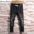 Brand designer 2017 New cotton spring Autumn Black Biker Jeans Ripped Hole Straight Justin Bieber Zippers Jeans Size 29-38 T048