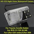 Para Toyota Corolla BYD F3 F3R S6 M6 Sedan Lifan 620 Lifan X60 Carro sedan CCD Night Vision Câmera de Visão Traseira de Backup à prova d' água