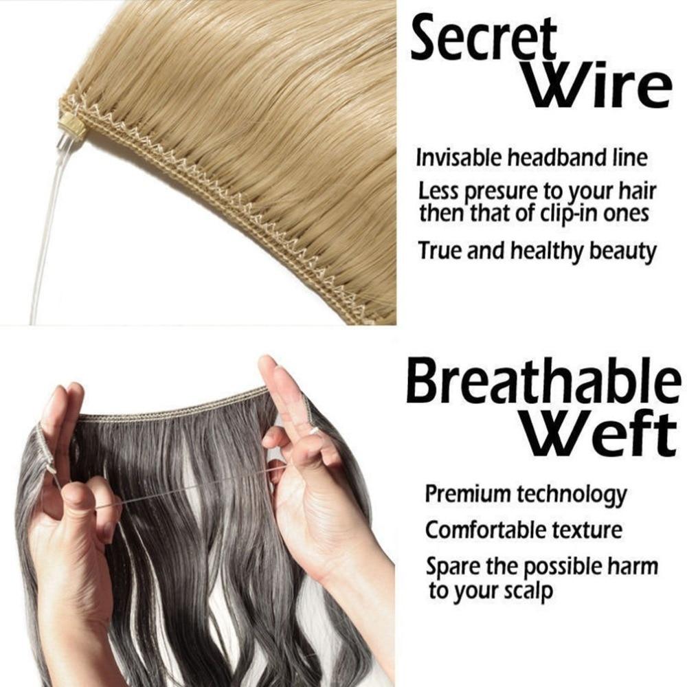 AOSIWIG Långt hår Fisklinje Vågigt hårförlängningar Hemliga - Syntetiskt hår - Foto 4