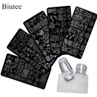 5Pcs New Flower Leaves Forest Image Plates Nail Stamping Plates Clear Jelly Silicone Nail Art Stamper