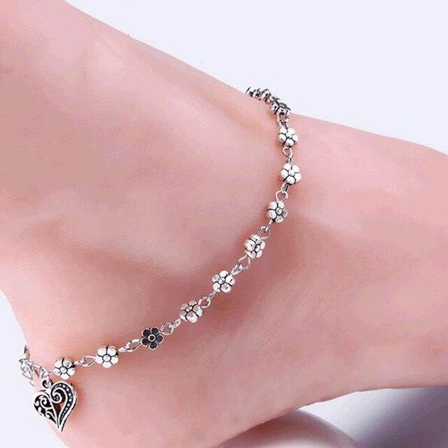 IPARAM 2019 新ファッション足チェーンチベットシルバー中空梅の花のハート型アンクレットの宝石類のギフト