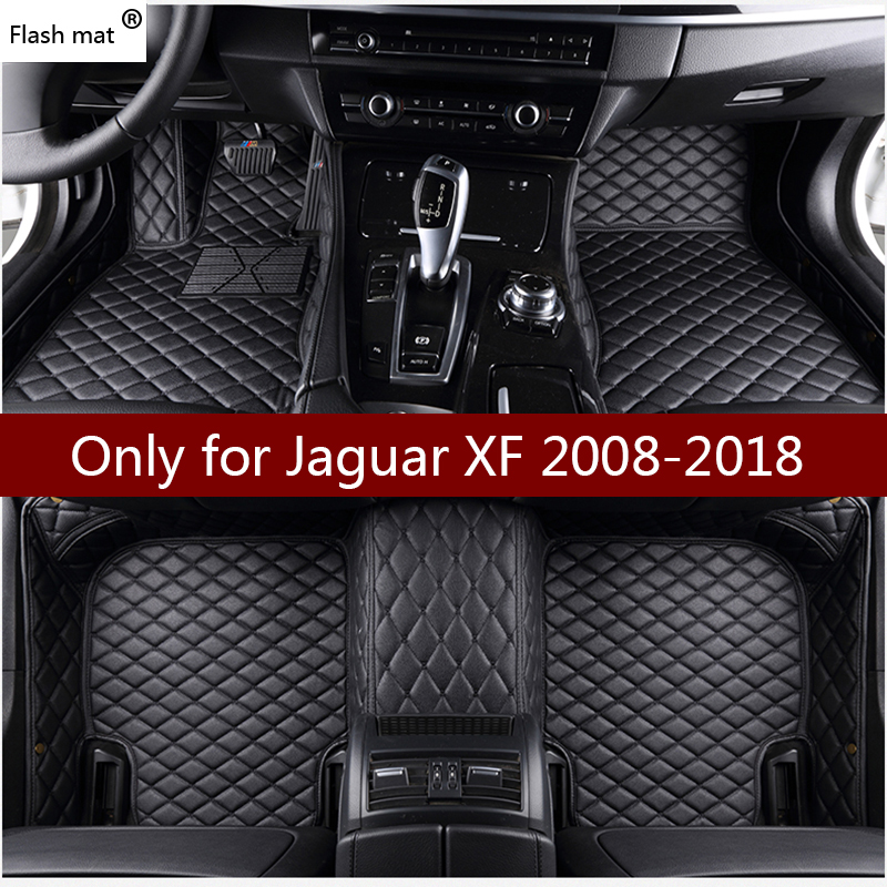 Flash mat leather car floor mats for Jaguar XF 2008-2013 2014 2015 2016 2017 2018 Custom foot Pads automobile carpet car covers flash mat logo car floor mats for zotye 2008 5008 t200 t600 z100 z200 z300 z500 car styling carpet auto accessories custom mat