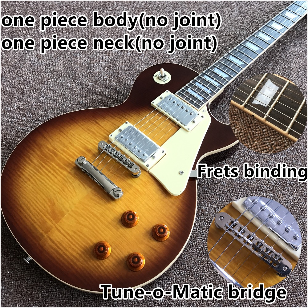 Vicers new one piece Neck one piece body electric guitar , Upgrade Tune-o-Matic bridge guitarra Tiger Flame standard guitar(China)