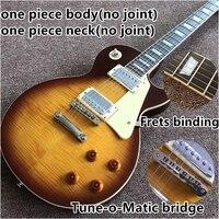 Vicers new one piece Neck one piece body electric guitar , Upgrade Tune o Matic bridge guitarra Tiger Flame standard guitar