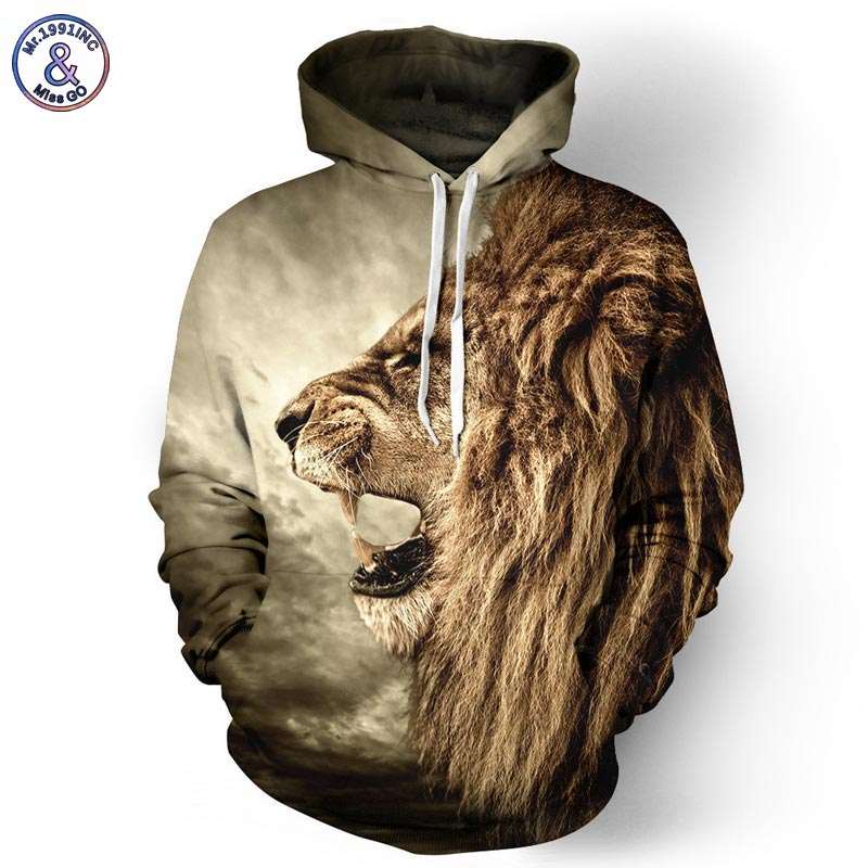 Mr 1991INC Autumn Winter Fashion Lion Ancient Digital Printing Men Women Hooded Hoodies Cap Windbreaker Jacket