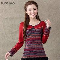 Women Pullovers 2015 Mori Girls Autumn Winter Japanese Style Ethnic Long Sleeve O Neck Geometrical Print