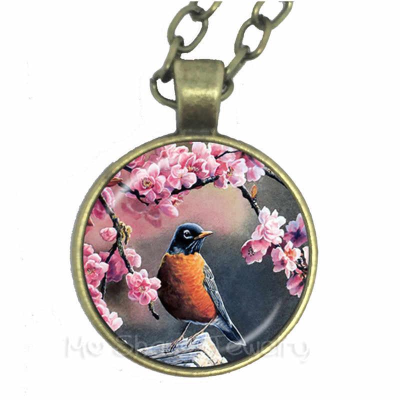 Mode oiseau Art peinture photo collier 25mm verre Cabochon Animal pendentif pour femmes hommes chandail chaîne accessoires