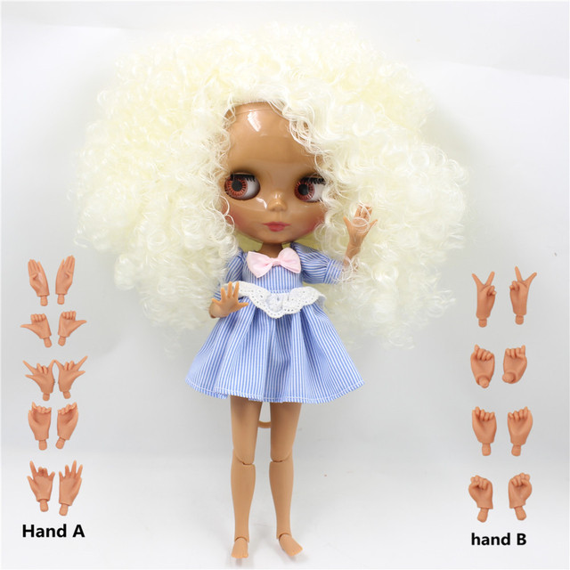 TBL Neo Blythe Doll Rice White Hair Dark Skin Jointed Body