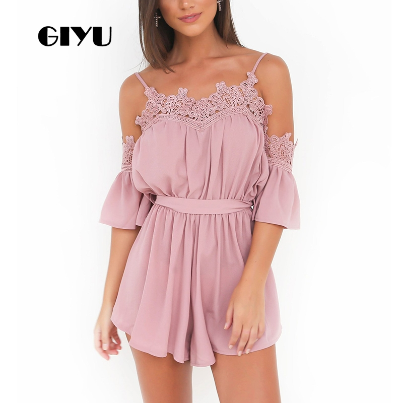 GIYU Cold Shoulder Summer Women Playsuits Holiday Short Jumpsuita Lace Patchwork Chiffon Overall with Sashes combinaison femme in Rompers from Women 39 s Clothing