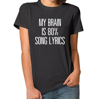 My Brain Is 80 Letter Tops Summer Harajuku T Shirt Women Plus Size Funny Couple Clothes