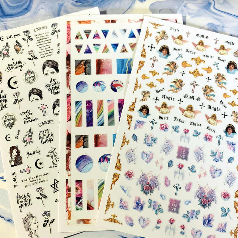 Newest MG-285-406-176 angel Empress rabbit 3d nail art sticker nail decal stamping export japan designs rhinestones  decorations