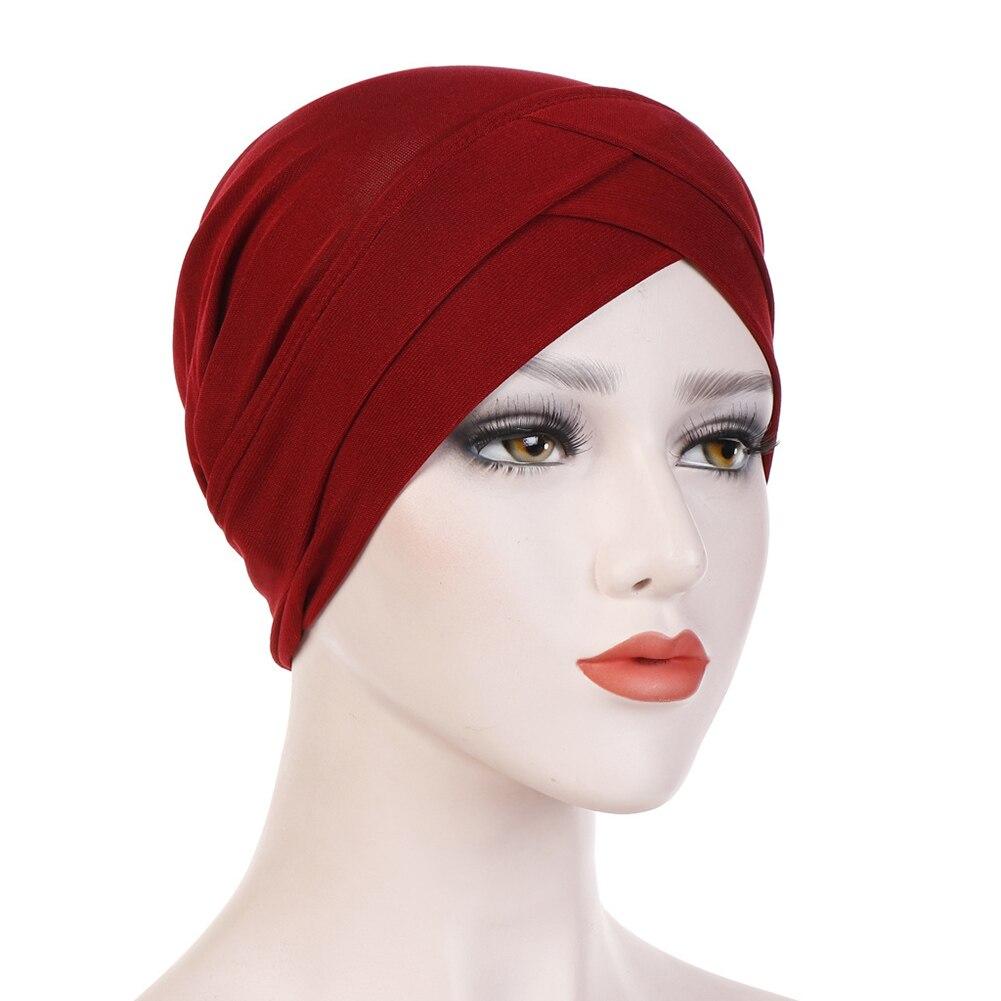Женский хлопковый хиджаб, шарф, тюрбан, шапка, мусульманский головной платок, солнцезащитная Кепка, мусульманский Многофункциональный тюрбан, фуляр, femme musulman - Цвет: wine red