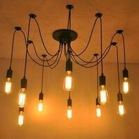 Бар Творческий паук Ретро промышленные подвесные светильники 10 Огни E27 Утюг подвесной светильник Abajur люстры е pendentes