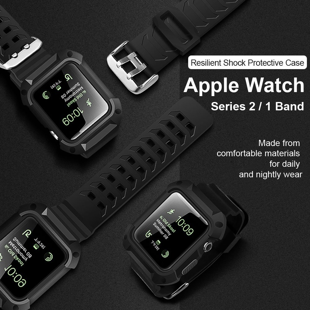 huge discount 7a151 e5999 US $12.99 |For Apple Watch Rugged Protective Case with Strap Bands for  Apple Watch / Watch Sport / Watch Series 2 Series 1-in Smart Accessories  from ...