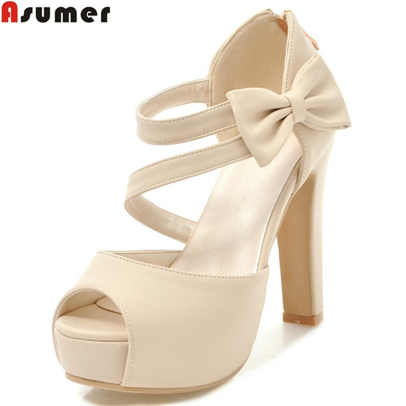 ASUMER black white 2018 summer new arrive wedding shoes woman sexy peep toe elegant platform women high heels sandals size 34-43 summer peep toe zapatos mujer sandals 15cm thin high heels crystal platform sexy woman shoes wedding dance shoes