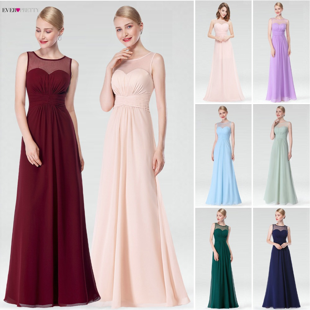 Burgundy Long Chiffon Bridemaid Robes Ever Pretty EP08761 Illusion Plus Size A-Line   Bridesmaid     Dresses   for Wedding Party 2019