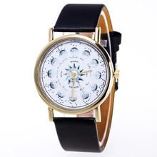 Um Ausuky Moda Das Mulheres Dos Homens Relógios de Quartzo de Couro Mulheres Senhora Relógio de Pulso Relógio Preto Branco Marrom