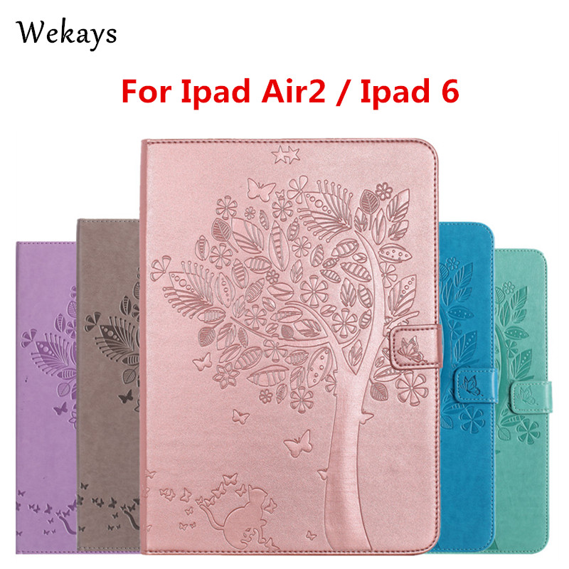 Wekays For iPad Air 2 Case Luxury Cartoon Cat and Tree Leather Flip Case For Apple iPad Air 2 ipad 6 Stand Full Cover Capa Funda flip left and right stand pu leather case cover for blu vivo air