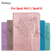 Wekays For iPad Air 2 Case Luxury Cartoon Cat and Tree Leather Flip Case For Apple iPad Air 2 ipad 6 Stand Full Cover Capa Funda for ipad air 2 case kids cartoon 3d protective cover for ipad air funda for ipad 2017 2018 cover capa for ipad pro 9 7 case