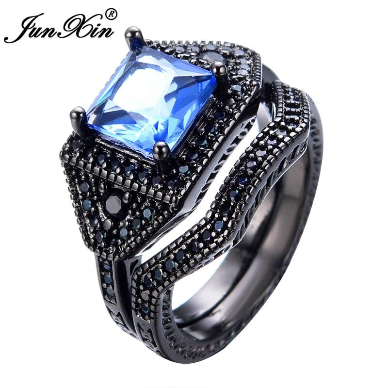 junxin crystal light blue ring sets for wedding black gold filled jewelry brand fashion men women - Blue Wedding Ring Set