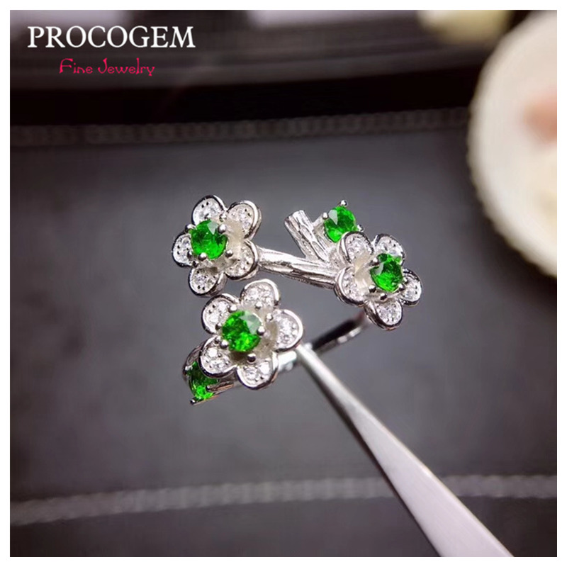 Natural plum flower Diopside Rings Chic for Women Party gifts 3mm Genuine gems Fine jewelry 925 Sterling Silver Rings #426Natural plum flower Diopside Rings Chic for Women Party gifts 3mm Genuine gems Fine jewelry 925 Sterling Silver Rings #426