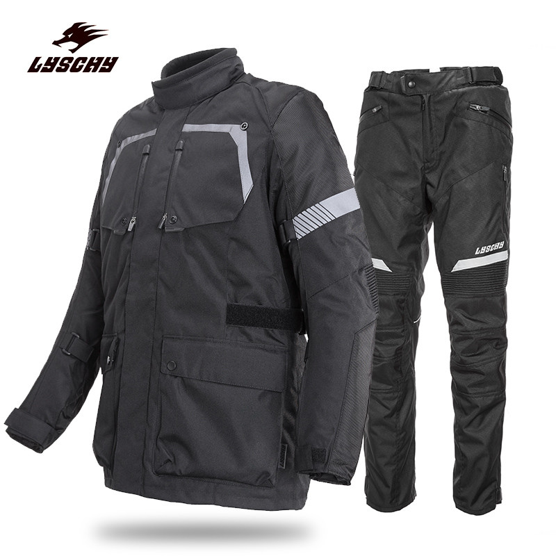 New Motorcycle Protection Gear Windproof Suit Men's Motocross Off-Road Racing Jacket Body Armor+ Riding Pants Clothing Set Black 2017 motoboy motocross riding sports car split raincoat rain pants suit professional male motorcycle rain gear and equipment