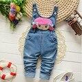 BibiCola Free shipping children pants Baby girls cute cartoon cowboy suspender trousers jeans pants kids clothing 2016 Spring