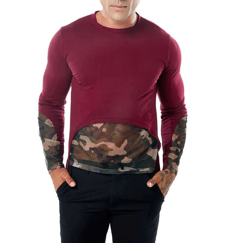 2018 New Autumn Men O Neck Camouflage Patchwork solid T-Shirts Long Sleeve Cotton Pullover Tee