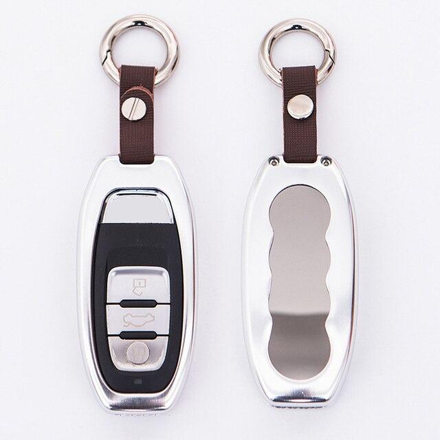 Liga de alumínio Titular da Tampa Do Caso Remoto Chave Shell Chave Do Carro para Audi A4 b6 b5 b7 b8 A6 A6 A7 A8 Q5 S6 c5 c6 Saco Acessórios Do Carro