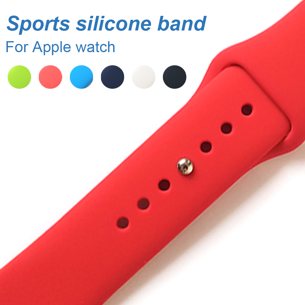 Colorful Soft Silicone Replacement Sport Band For Apple Watch Series123 38mm 42mm Wrist Bracelet Strap For iWatch Sports Edition