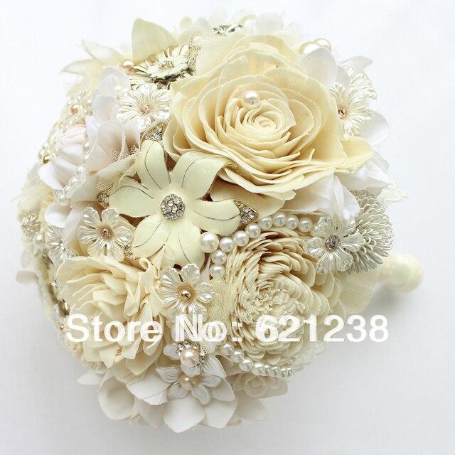 EMS бесплатная доставка, слоновой кости свадебные холдинг цветы пастырской стиль свадебный букет/Обнаженной цвета конфеты цвет букет невесты